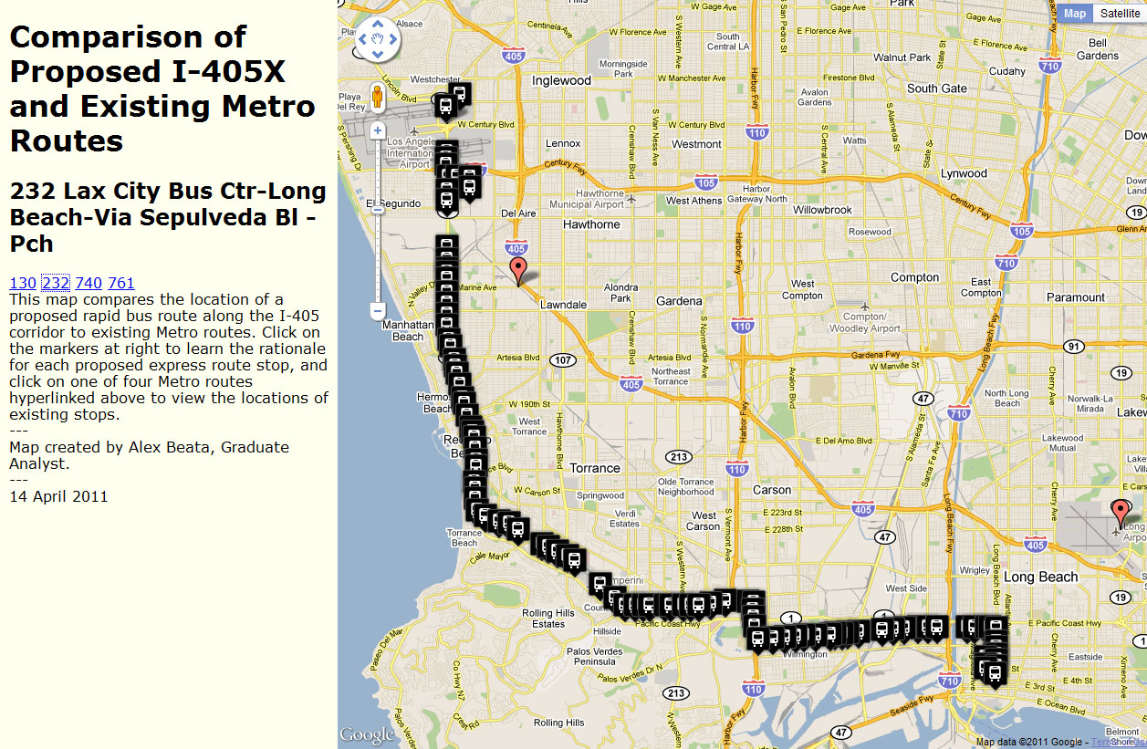 Comparison Of Proposed I 405x And Existing Metro Routes