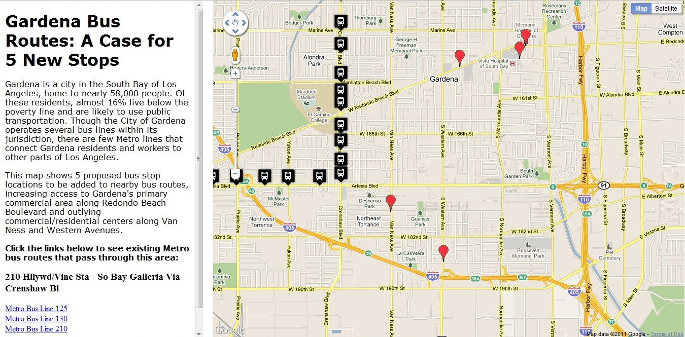 Proposed Bus Stops and Proximate Metro Bus Routes | Advanced