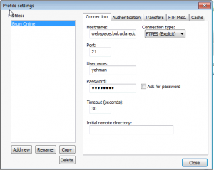FTP settings for BOL
