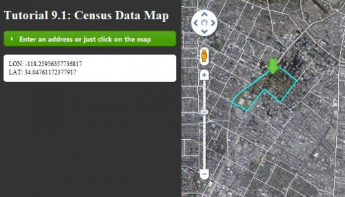 census tract polygon drawn on map click