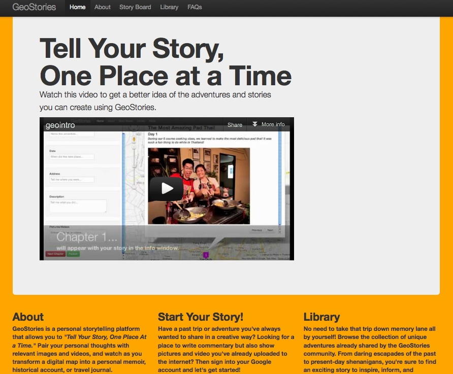 GeoStories-Home Page