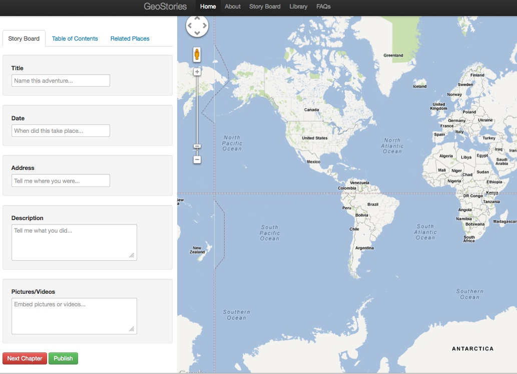 GeoStories--New Story Board Interface